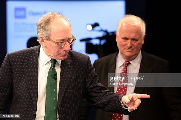 Former Foreign Secretary, Sir Malcolm Rifkind, KCMG, QC and Former Taoiseach of Ireland, John Bruton, attend the 'EU Wargames' event at The Porter...