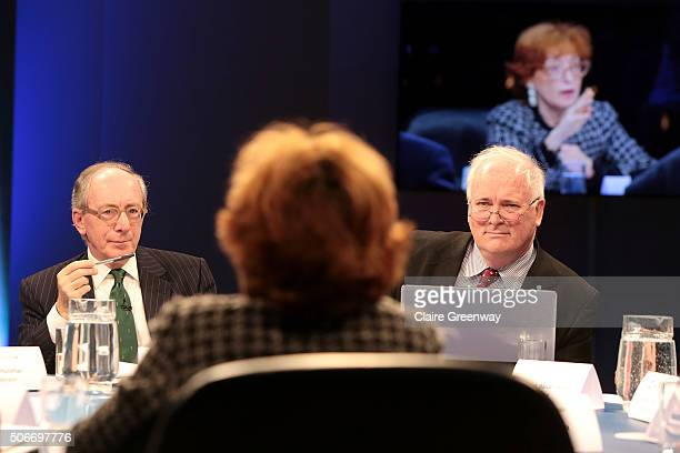 Former Foreign Secretary, Sir Malcolm Rifkind, KCMG, QC and former Taoiseach of Ireland, John Bruton listen as former French Minister of European...