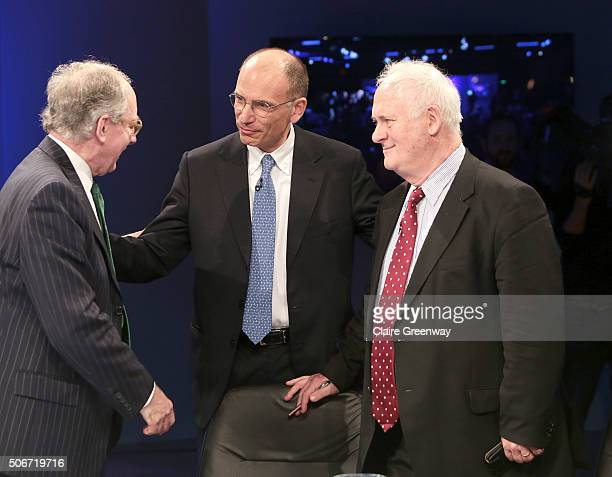 Former Foreign Secretary, Sir Malcolm Rifkind, KCMG, QC, former PM of Italy, Enrico Letta, and former Taoiseach of Ireland, John Bruton attend the...