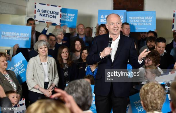 Former Foreign Secretary William Hague speaks ahead of Britain's Prime Minister Theresa May at an election campaign event during a visit to West...