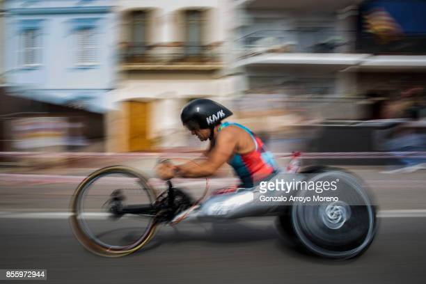 Former Formula One driver and athlete Alex Zanardi competes during biking course of the IRONMAN Barcelona on September 30 2017 in Barcelona province...