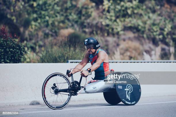 Former Formula One driver and paracyclist Alex Zanardi competes during biking course of the IRONMAN Barcelona on September 30 2017 in Calella...