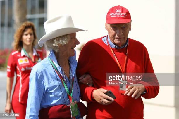 Former Formula One driver Italian Arturo Francesco Merzario with Niki Lauda in the Paddock the Abu Dhabi Formula One Grand Prix
