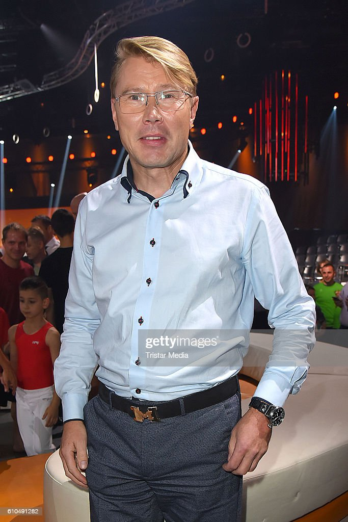 Former Formula one driver Mika Haekkinen at the tv show 'Klein gegen Gross - Das unglaubliche Duell' on September 25, 2016 in Berlin, Germany.
