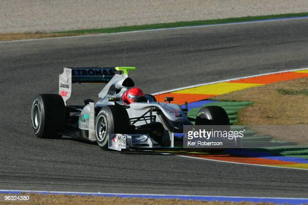 Former Formula One World Champion Michael Schumacher of Germany and Mercedes GP drives during winter testing at the Ricardo Tormo Circuit on February...