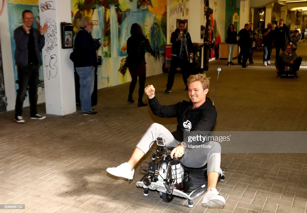 Former Formula One Worldchampion Nico Rosberg of Germany celebrates after winning the viva con aqua social e-cart race at Millerntor Stadium on August 22, 2017 in Hamburg, Germany.
