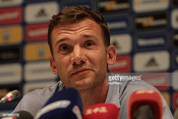 Former forward of FC Dynamo Kyiv and Ukrainian national football team Andriy Shevchenko during the press conference as Head coach of the National...