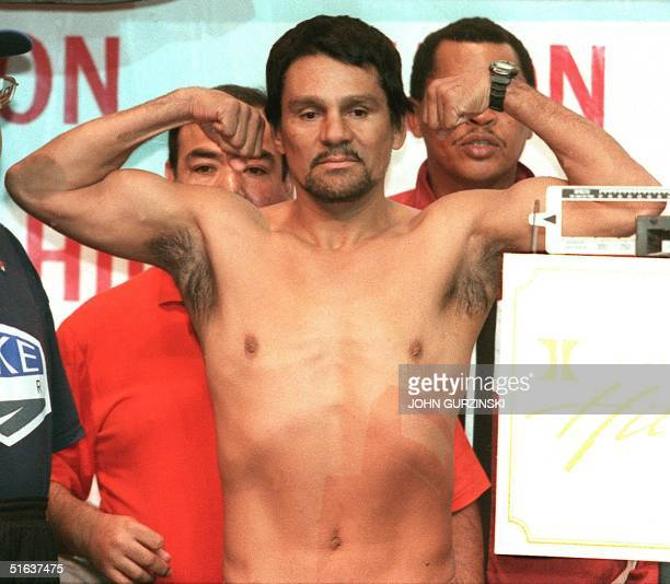 Former four time champion Roberto Duran of Panama poses after he weighed in at 159lbs at the Hilton Hotel in Las Vegas NV 27 August Duran will fight...