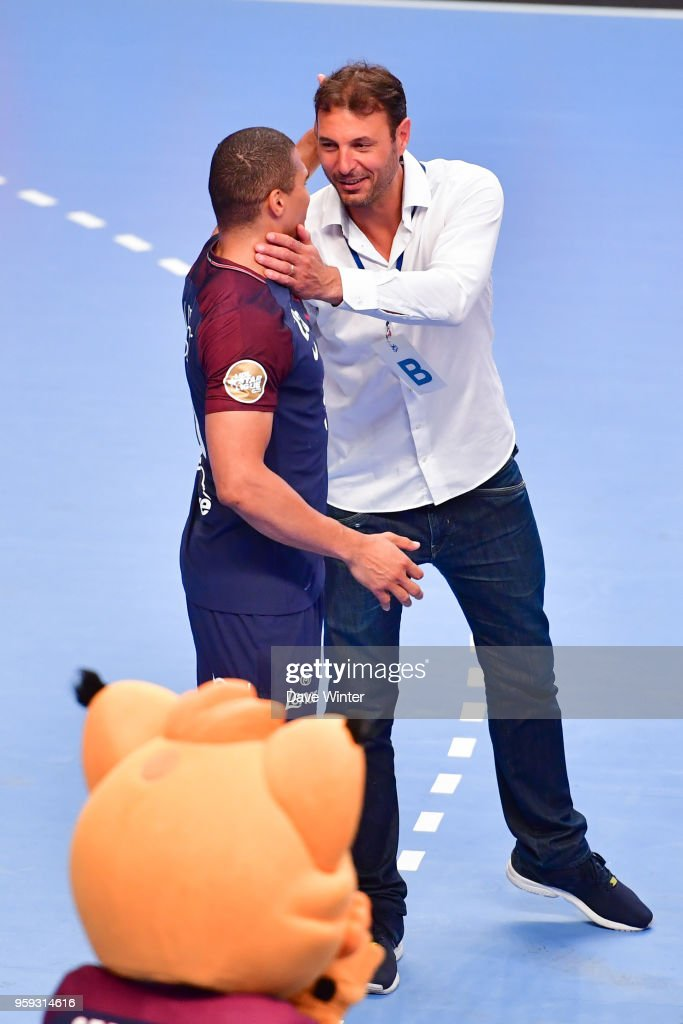 Former France colleagues Daniel Narcisse of PSG and Aix coach Jerome Fernandez during the Lidl StarLigue match between Paris Saint Germain and Aix at Salle Pierre Coubertin on May 16, 2018 in Paris, France.