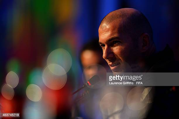 Former France footballer Zinedine Zidane attends the Draw Assistants Press Conference during a media day ahead of the 2014 FIFA World Cup Draw at...