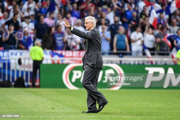 Former France World Cup Winning coach Aime Jacquet during the International Friendly match between France and United States at Groupama Stadium on...