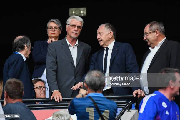 Former France World Cup winning coahc Aime Jacquet and Jean Michel Aulas coach of Lyon during the International Friendly match between France and...