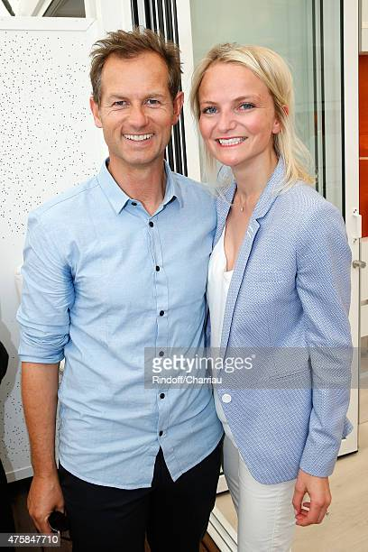 Former Freestyle skier Edgar Grospiron and his wife Nathalie attend the 2015 Roland Garros French Tennis Open - Day Twelve, on June 4, 2015 in Paris,...