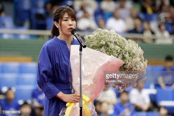Former freestyle wrestler and three-time Olympic gold medalist Saori Yoshida speaks during her retirement ceremony on day four of the All Japan...
