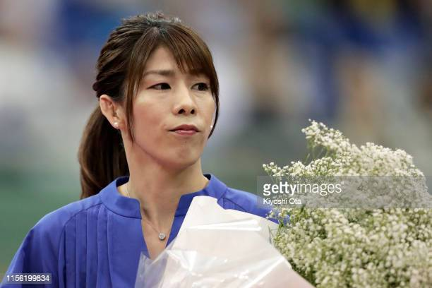 Former freestyle wrestler and three-time Olympic gold medalist Saori Yoshida attends her retirement ceremony on day four of the All Japan Wrestling...