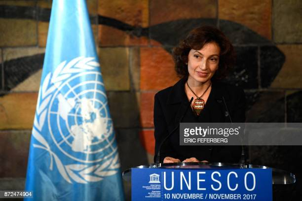 Former French culture minister Audrey Azoulay speaks at the UNESCO headquarters in Paris on November 10 2017 after UNESCO member states approved her...