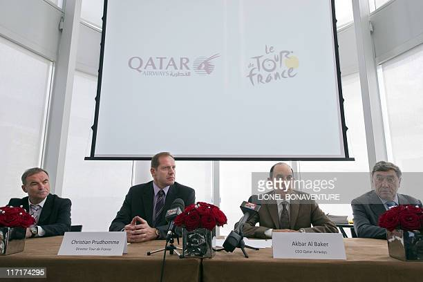 Former French cycling champion Bernard Hinault Director of the Tour de France cycling race Christian Prud'homme CEO of Qatar Airways Akbar Al Baker...