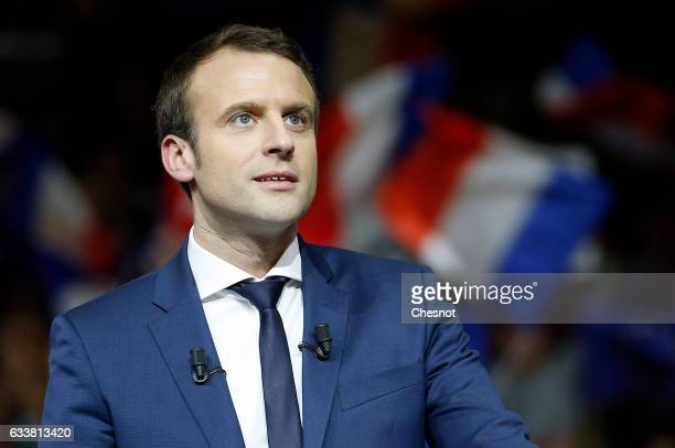 Former French Economy Minister founder and President of the political movement 'En Marche ' Emmanuel Macron delivers a speech during a campaign...