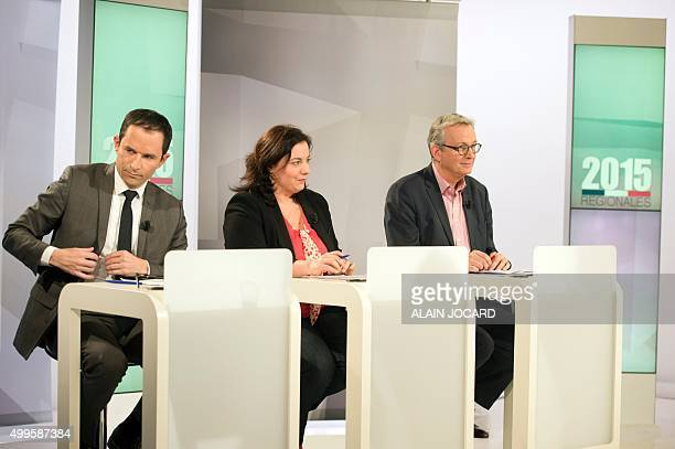 Former French Education minister Benoit Hamon EELV Green party national secretary Emmanuelle Cosse and French Communist Party general secretary...