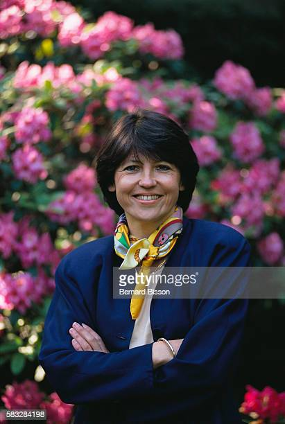 Former French employment minister Martine Aubry in the cabinet's gardens in Paris on May 24 1991