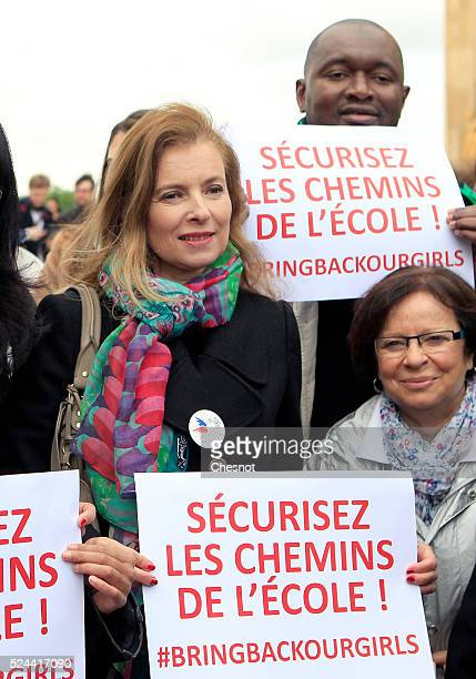 Former French first lady Valerie Trierweiler takes part in a demonstration for the release of the Nigerian schoolgirls held hostage by the Islamists...