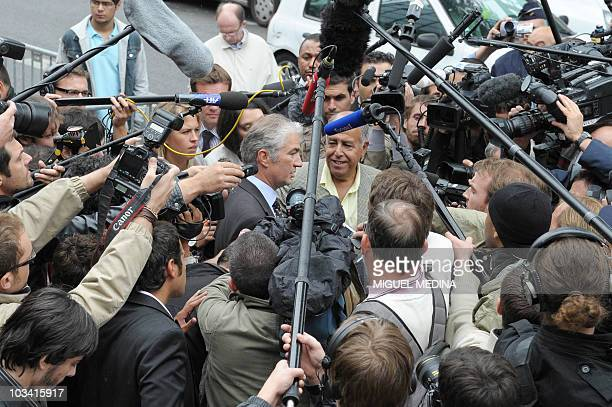 Former French football federation's official JeanLouis Valentin answers to journalists' question on August 17 2010 at the French football federation...