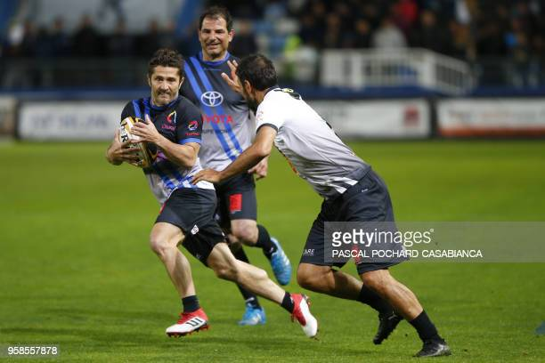 Former French football international Bixente Lizarazu takes part in the charity match organized by French football player Pascal Olmeta for his...