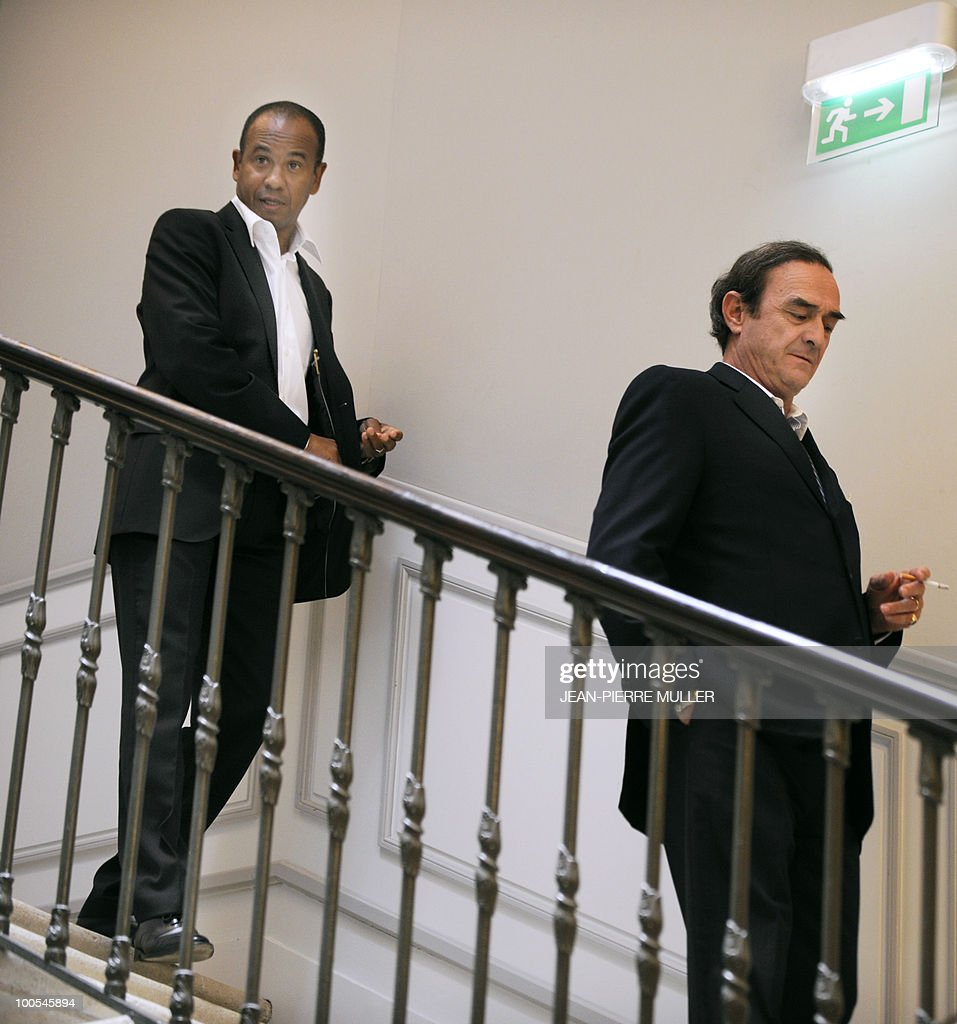 Former French football midfielder Jean Tigana (L) and Bordeaux French football club president, Jean-Louis Triaud arrive to give a press conference on May 25, 2010 at Le Haillan training center, near Bordeaux, southwestern France. Tigana was named Bordeaux' coach replacing Laurent Blanc who is likely to become the coach of the French football selection after the World Cup in South Africa.