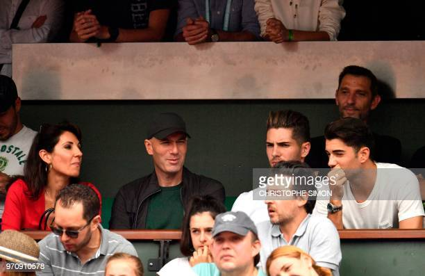 Former French football player and former Real Madrid's coach Zinedine Zidane with wife Veronique and their sons Real Madrid's French goalkeeper Luca...
