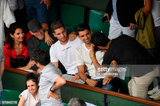 Former French football player and former Real Madrid's coach Zinedine Zidane his wife Veronique their sons Real Madrid's French goalkeeper Luca and...