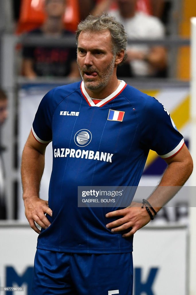 Former French Football Player Laurent Blanc Attends The Legends Super Cup Futsal Match France Vs China