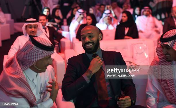 Former French football player Thierry Henry attends the Quality of Life Program 2020 conference in the Saudi capital Riyadh on May 3 2018 The program...