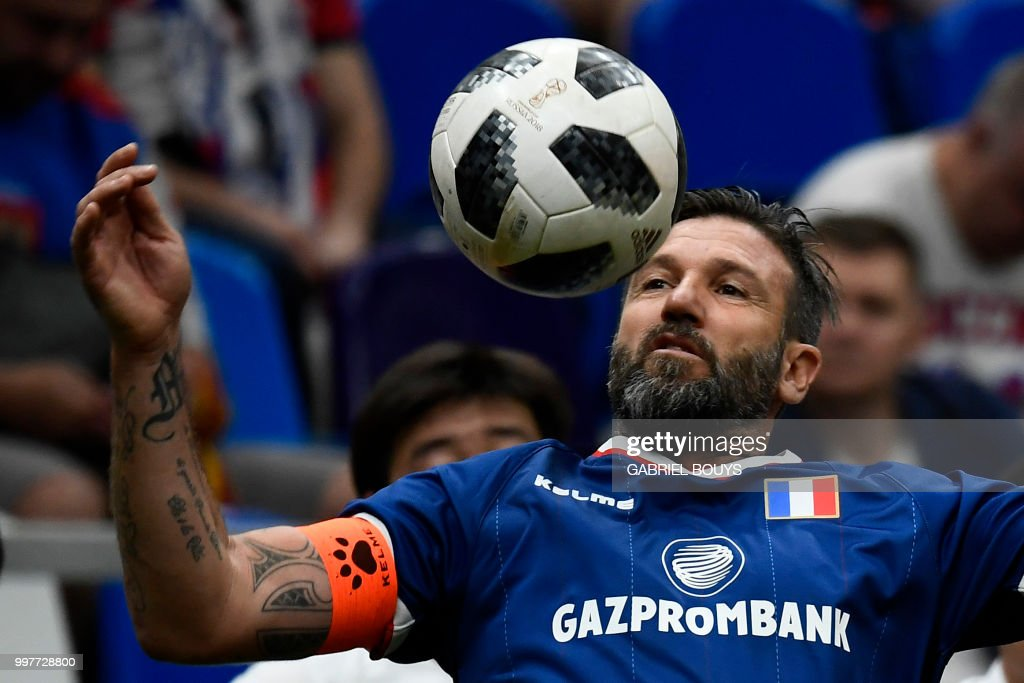 Former French Football Player Vincent Candela Controls The Ball During The Legends Super Cup Futsal Match