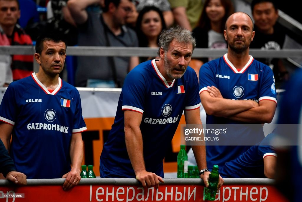 Former French Football Players Eric Carriere Laurent Blanc And Christophe Dugarry L To