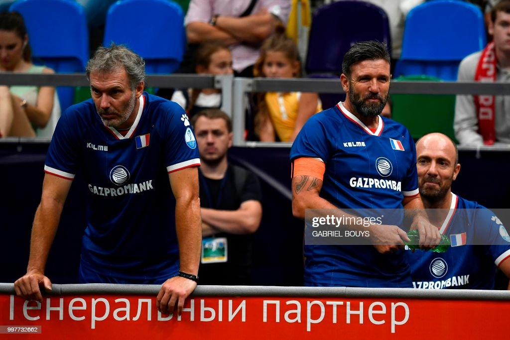 Former French Football Players Laurent Blanc Vincent Candela And Christophe Dugarry L To R
