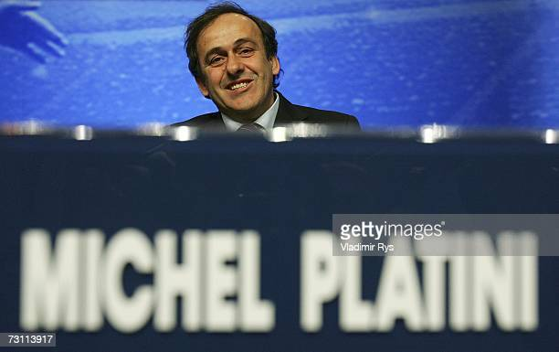 Former French football star and a candidate for the new UEFA President Michel Platini looks on during the second day of the 2007 UEFA Congress at the...
