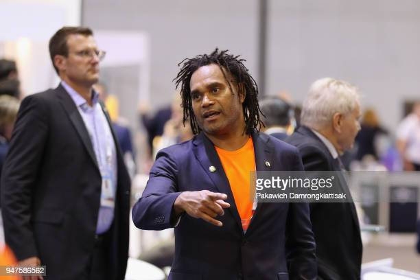Former French footballer Christian Karembeu is seen at Teqball booth at the exhibition area during day three of the SportAccord at Centara Grand...
