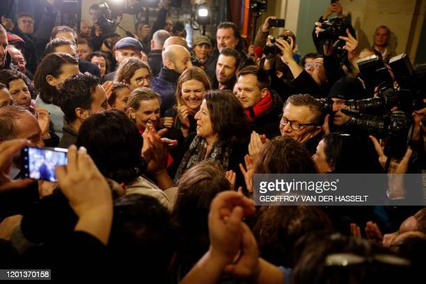 TOPSHOT Former French Health Minister Agnes Buzyn poses for pictures as she arrives at the Mon Paris cafe in Paris on February 16 after she had been...