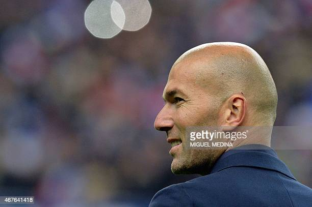 Former French international football player Zinedine Zidane is pictured ahead of the friendly football match France vs Brazil, on March 26, 2015 at...