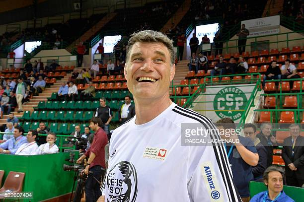 Former French International player and Stade Toulousain's general manager Fabien Pelous is pictured ahead of a charity indoor football match between...