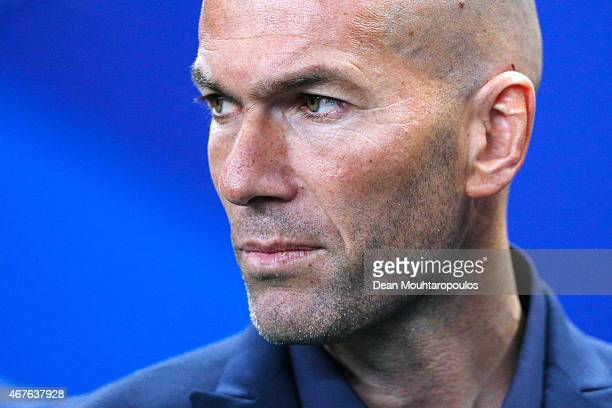 Former French international Zinedine Zidane looks on prior to the International Friendly match between France and Brazil at the Stade de France on...