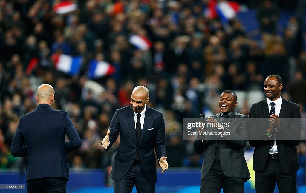 Former French internationals, (L-R) Zinedine Zidane, Thierry Henry, Marcel Desailly and Patrick Vieira are introduced to the fans on the field prior to the International Friendly match between France and Brazil at the Stade de France on March 26, 2015 in Paris, France.