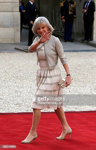 Former French Justice Minister and President of the Foreign Affairs Commission at National Assembly Elisabeth Guigou waves as she arrives at the...