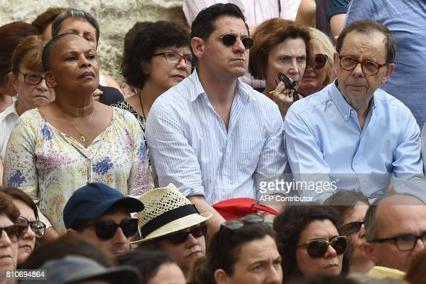 Former French Justice Minister Christiane Taubira Avignon Theatre Festival President and French theatre director Olivier Py and Former Renault CEO...