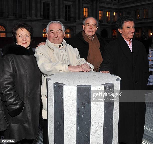 Former French Minister of culture Catherine Tasca architect Daniel Buren French Minister of Culture Frederic Mitterrand and Former French Minister of...