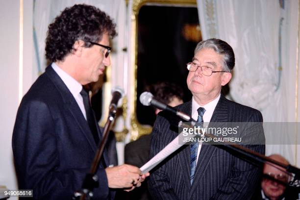 Former French Minister of European Affairs André Chandernagor is awarded Officier of the Legion of Honour by French Culture Minister Jack Lang on...
