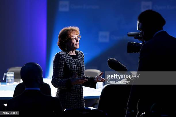 Former French Minister of European Affairs, Noelle Lenoir, attends the 'EU Wargames' event at The Porter Tun on January 25, 2016 in London, England....