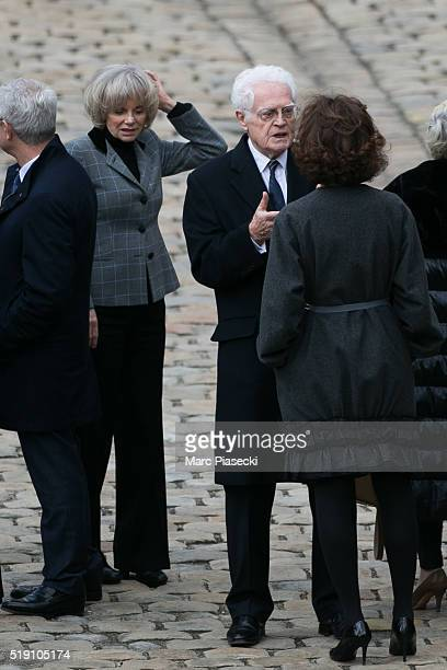 Former french minister of Justice Elisabeth Guigou and former french Prime Minister Lionel Jospin attend the funeral ceremony of French writer and...