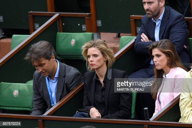 Former French Miss France Sylvie Tellier attends the men's quarterfinal match between Serbia's Novak Djokovic and Czech Republic's Tomas Berdych at...