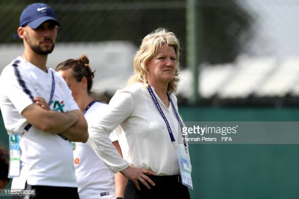 Former French player Brigitte Henriques looks on during a France training session at Stade CharlesEhrmann on June 10 2019 in Nice France